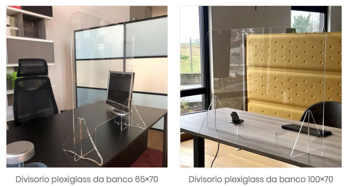 Pannelli divisori in plexiglass